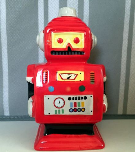 Robot Man Hand Painted Money Bank - Red
